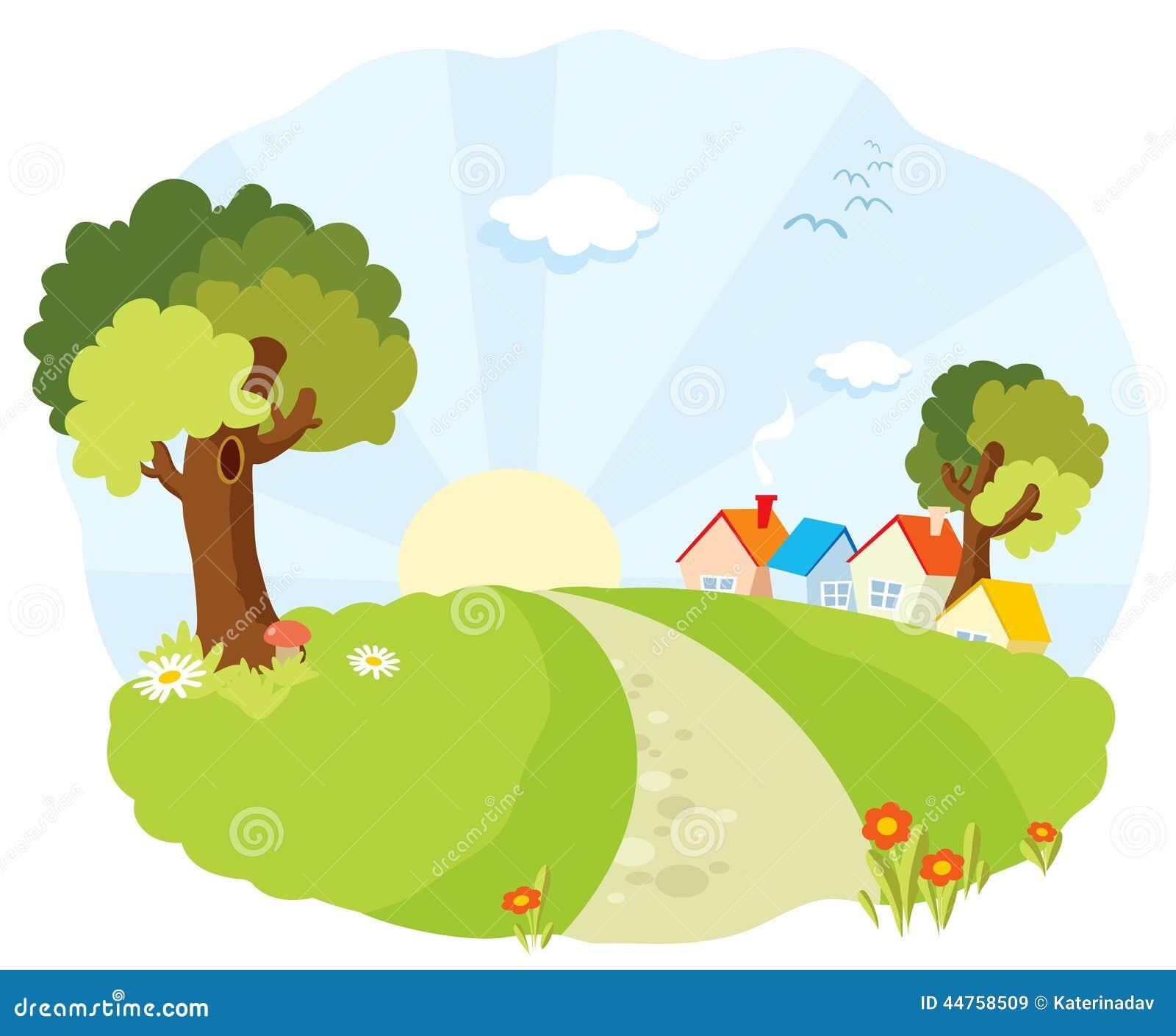 Landskap med små hus