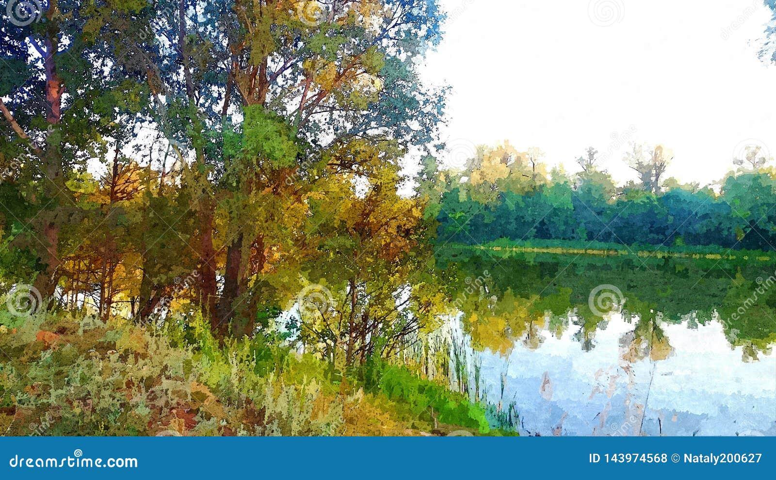 Landskap med träd och en sjö i träna i sommaren