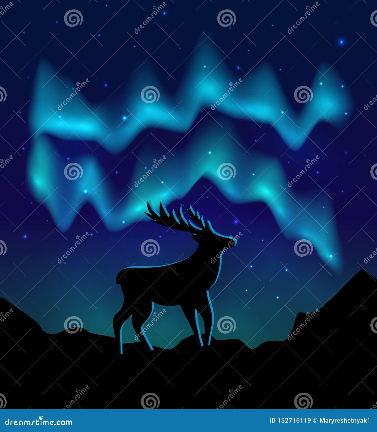 Landskap nordliga ljus i den stjärnklara himlen och med konturn av hjortar på berg eps10 blommar yellow f?r wallpaper f?r vektor