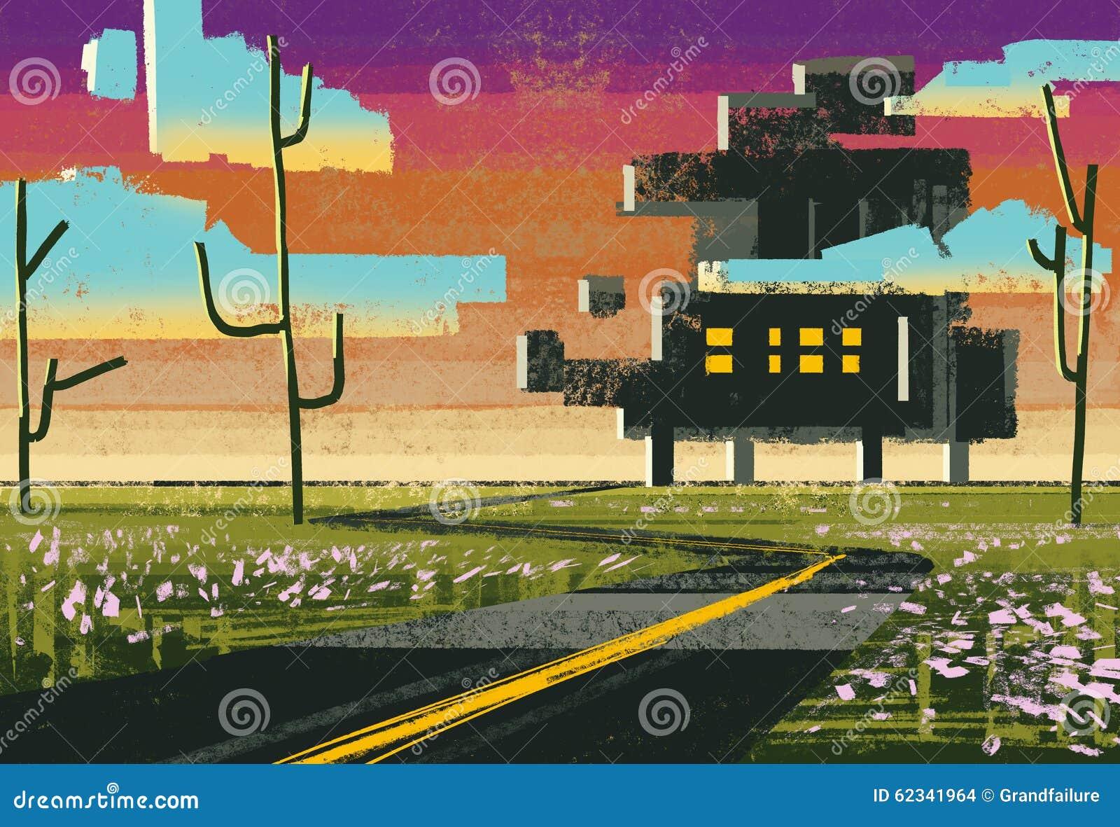 Landskap som visar det moderna huset i äng med plan stil