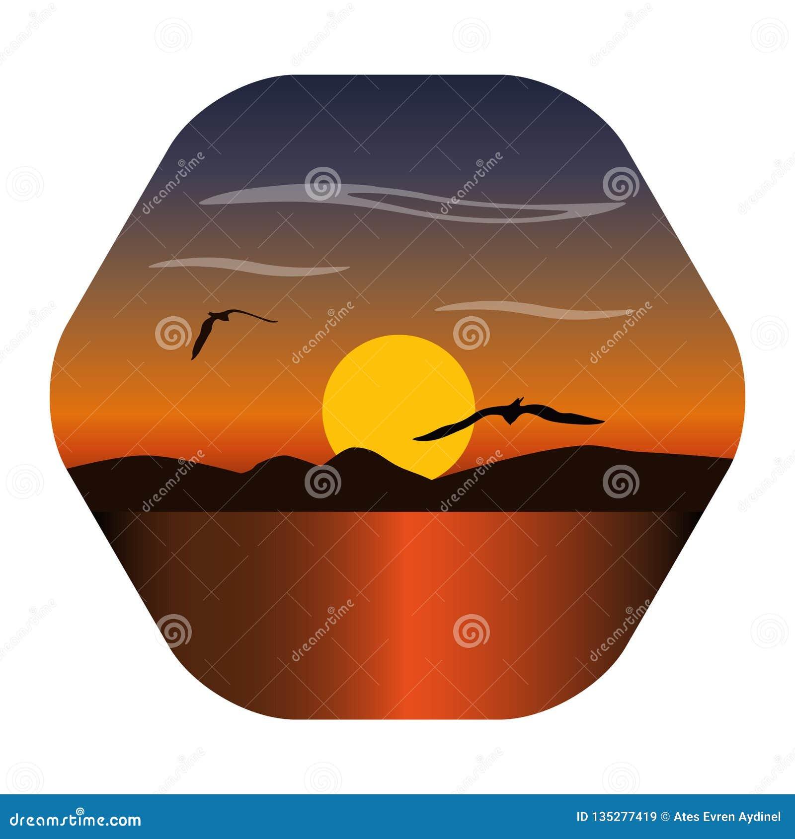 Landskapbild av en solnedgång, gryningsolen över bergen i bakgrunden och moln över