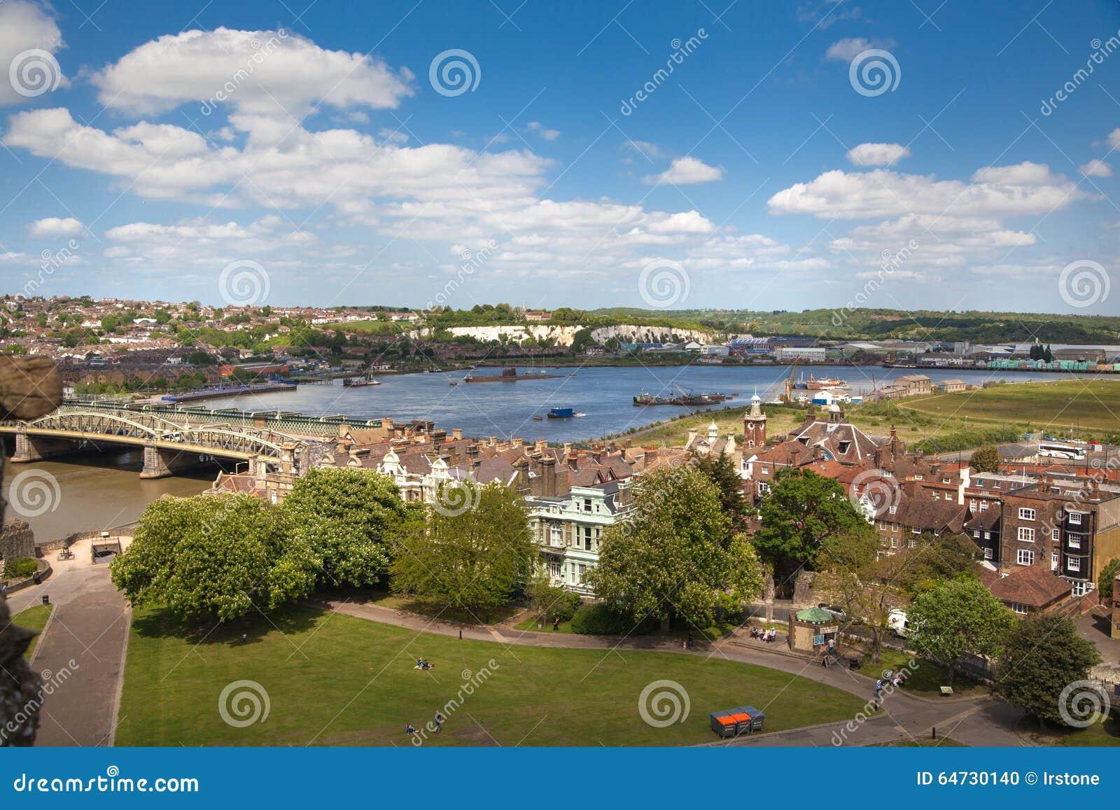 Landskapet av den Rochester staden inkluderar omkring floden Kent och yachtklubban