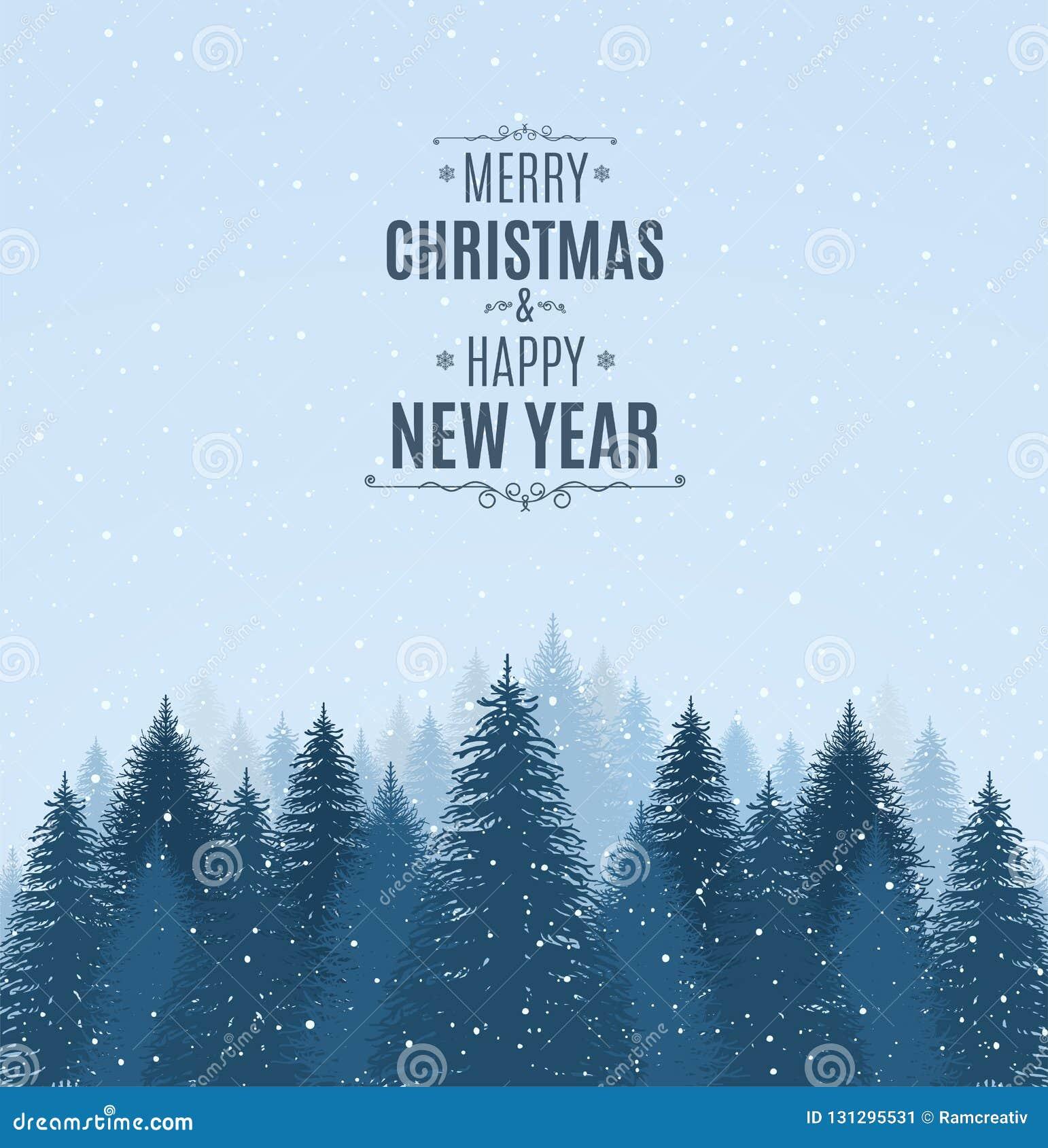 Landskapet med blått snöig sörjer, granar, barrskogen, fallande snö Glad jul för ferievinterskog och lyckligt nytt år