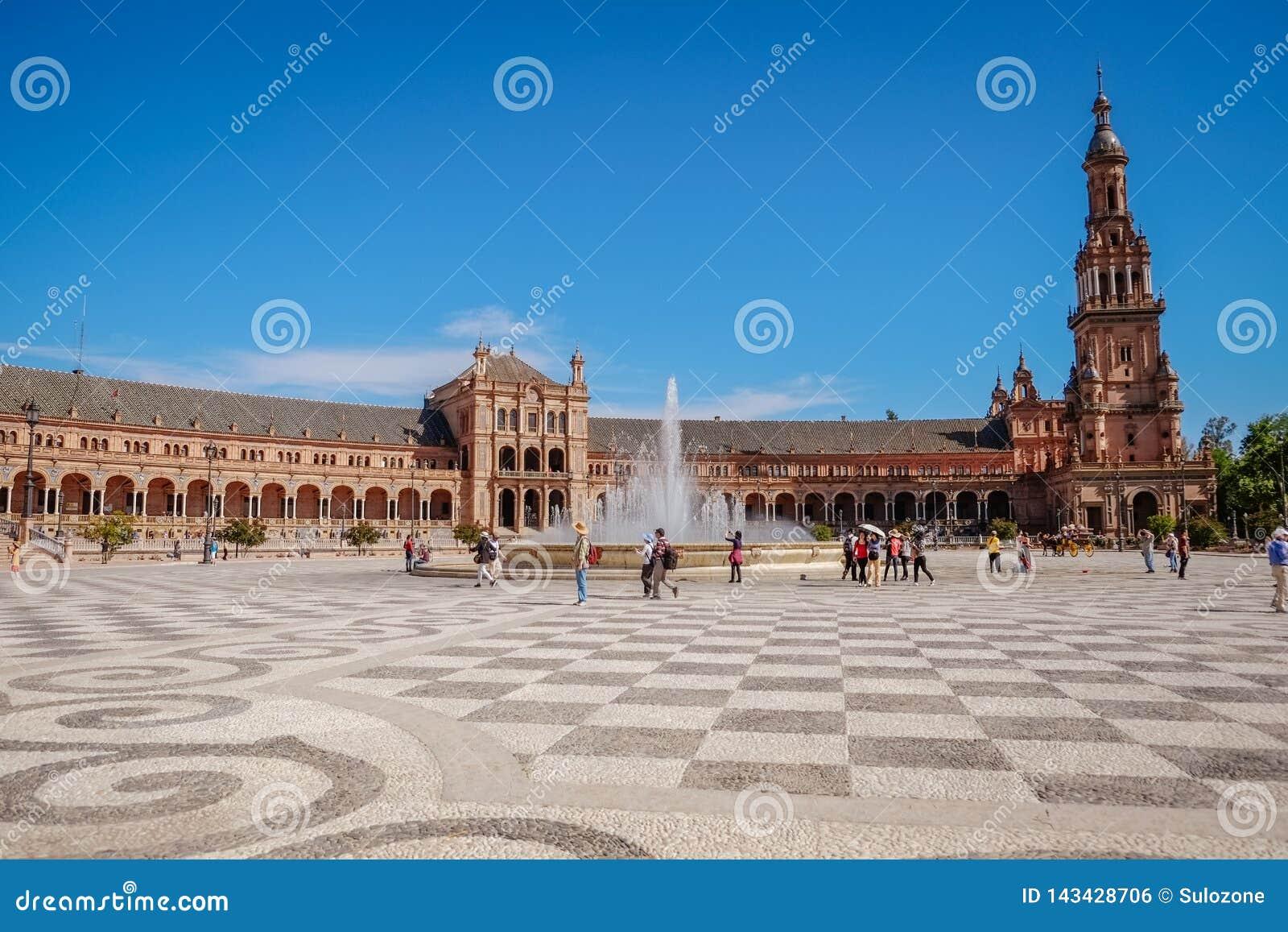 Landskapsikt av Plaza de Espana seville spain