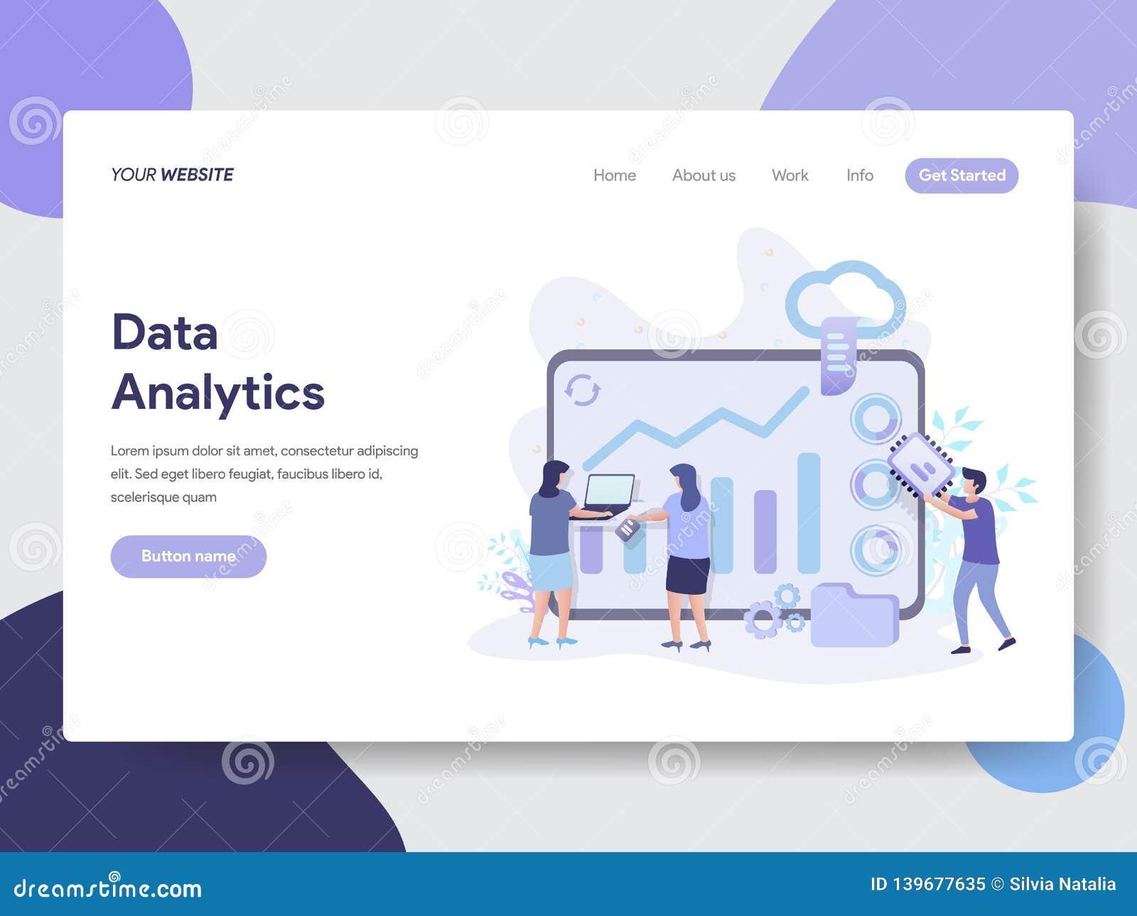 Landungsseitenschablone des Daten Analytics-Illustrations-Konzeptes Modernes flaches Konzept des Entwurfes des Webseitenentwurfs