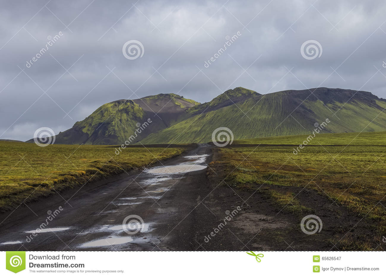 Landweg na regen en mos-behandelde vulkanische bergen Landma