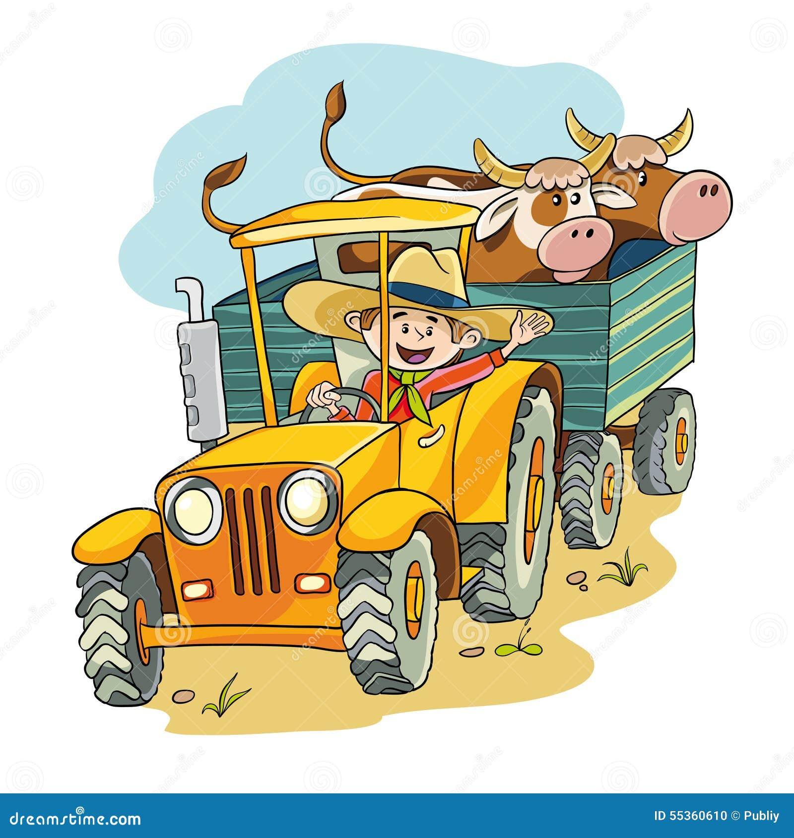Landwirt im Traktor