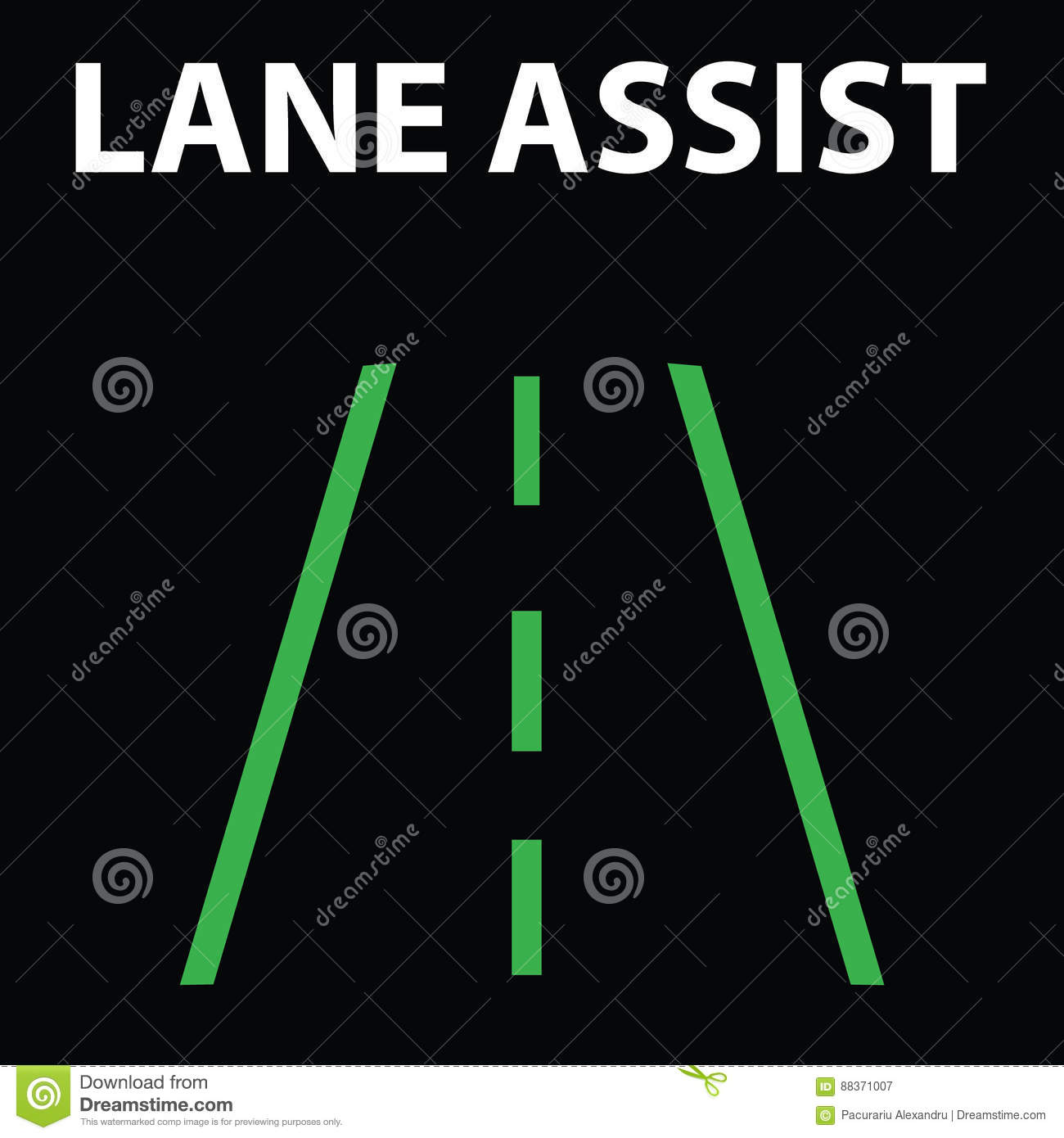 Lane Assist Icon In Car Dashboard Warning Dashboard Signlight - Car sign on dashboard