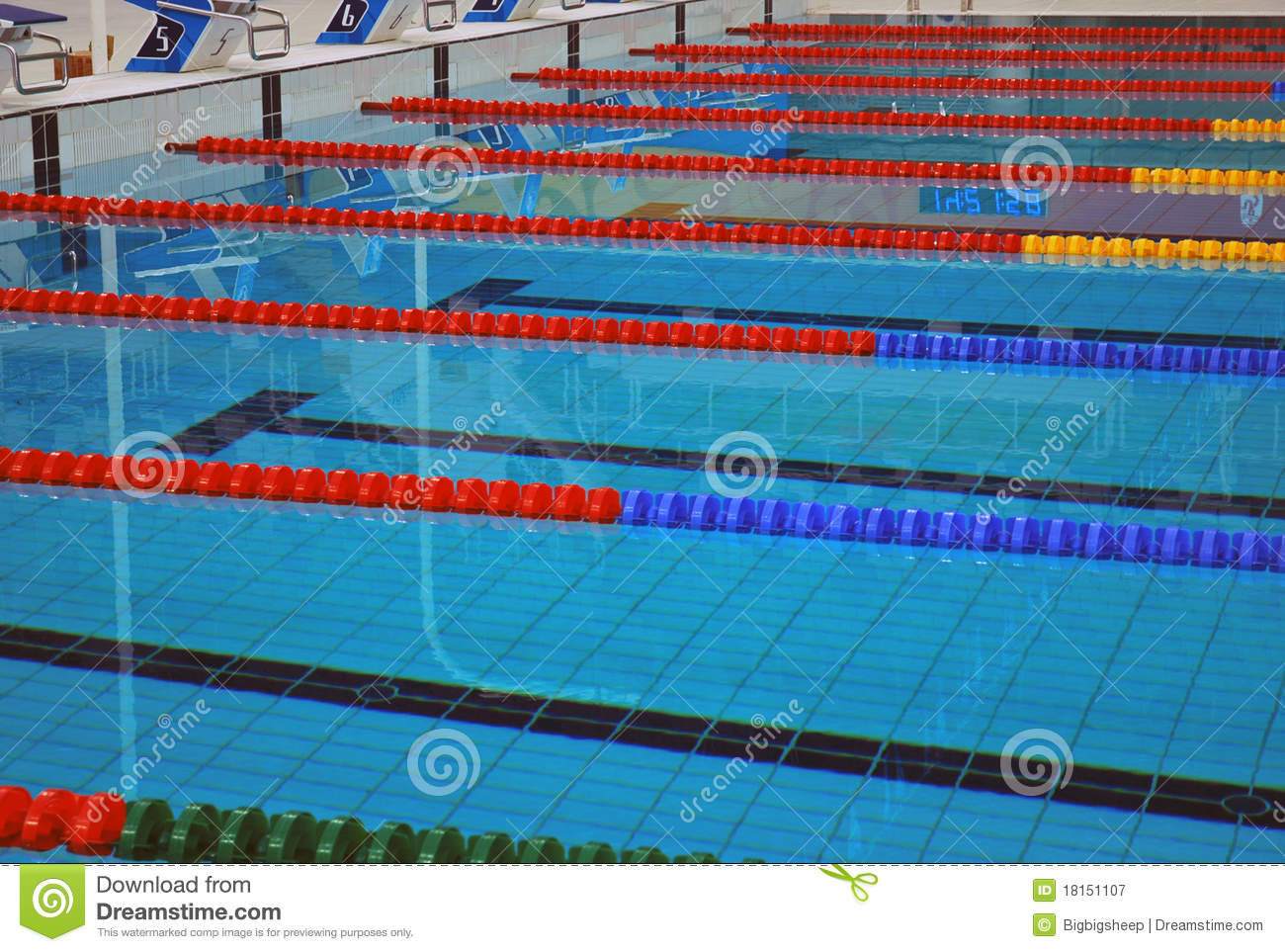Lane Lines Of A Swimming Pool Stock Image - Image of number ...