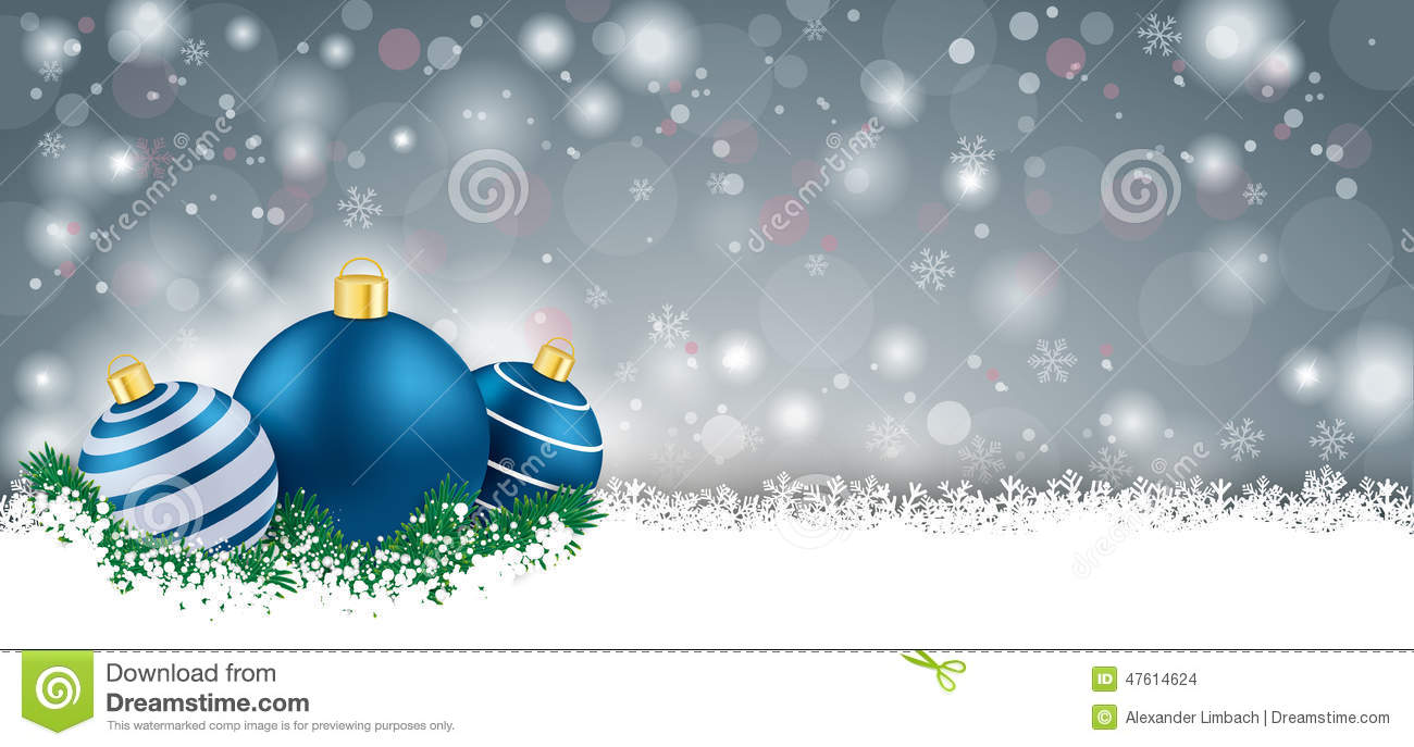 Lang Gray Christmas Card Blue Baubles