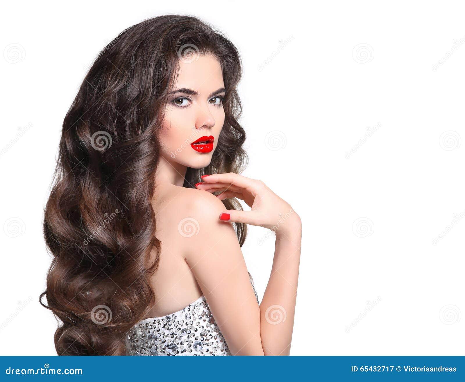 Lang haar makeup Mooi Meisjesportret Donkerbruine manier wom
