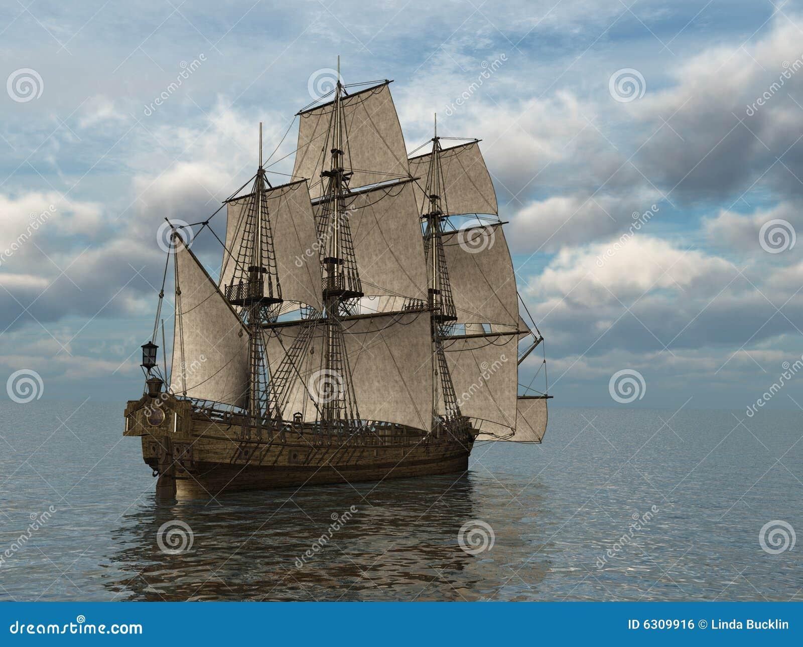 Lang Schip op zee