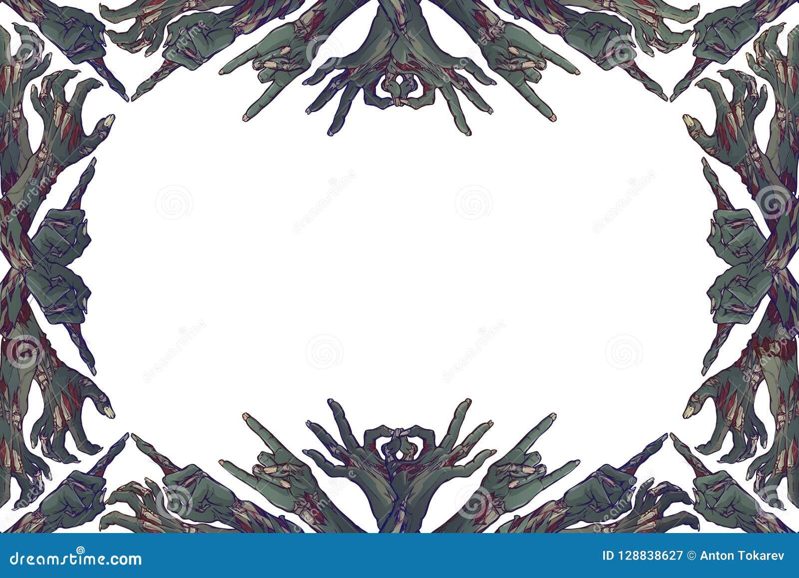 Langage du corps de zombi Cadre décoratif fait de mains de zombi avec de divers gestes dessin linéaire coloré d isolement dessus
