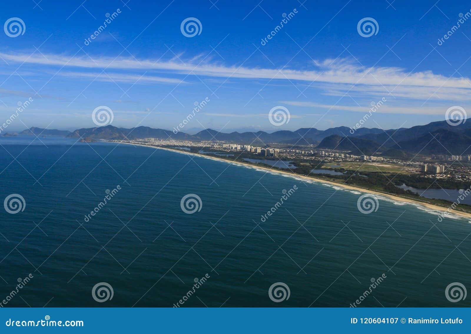 Lange en prachtige stranden, Recreio-het strand van Dos Bandeirantes, Rio de Janeiro Brazil