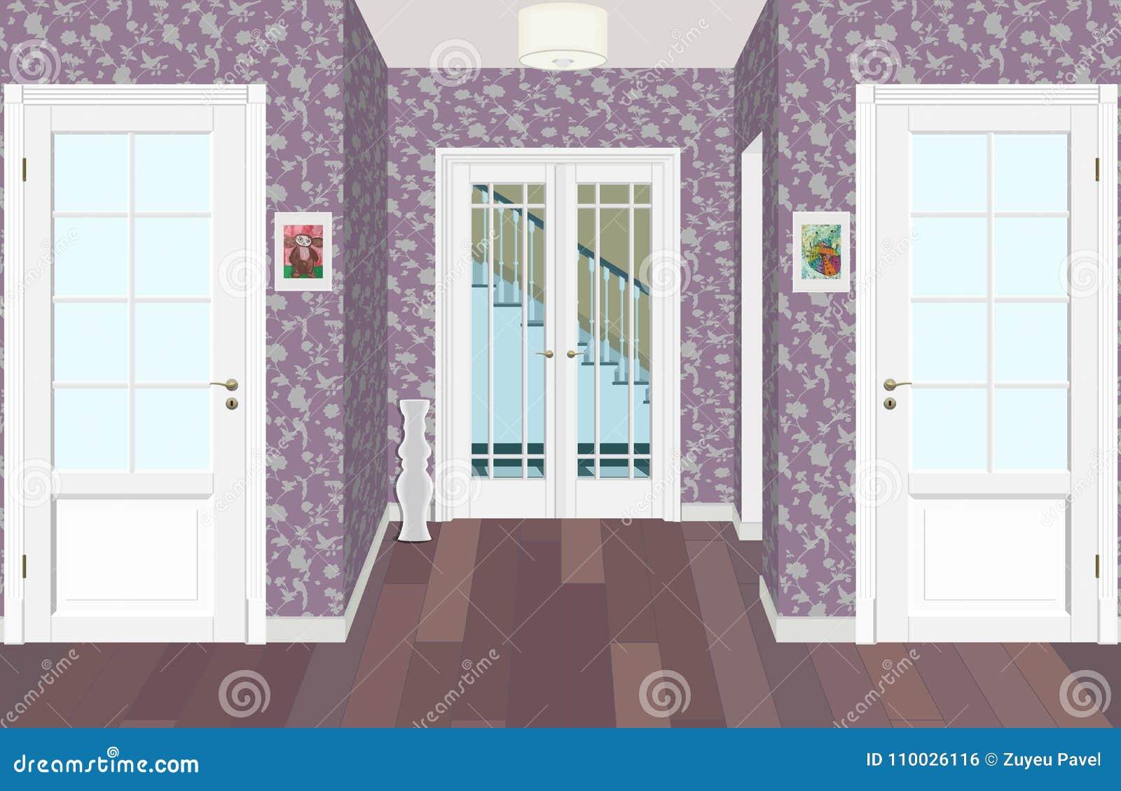Lange gang met rijen van gesloten deuren Concept oneindige kansen voor succes en hardheid van keus 3d