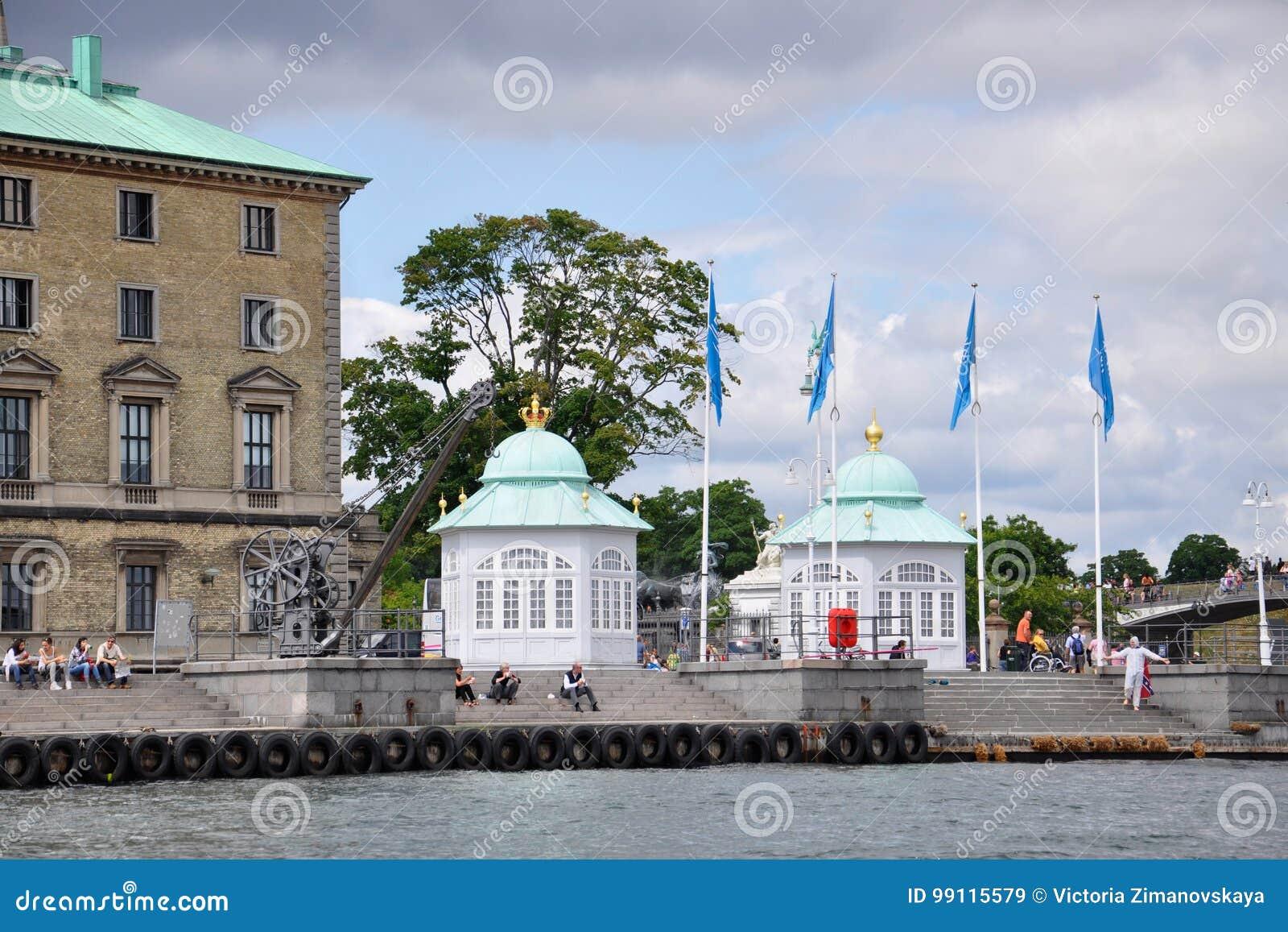Langelinie: paviljoenen met groene koepels, antieke kraan en mensen op vakantie