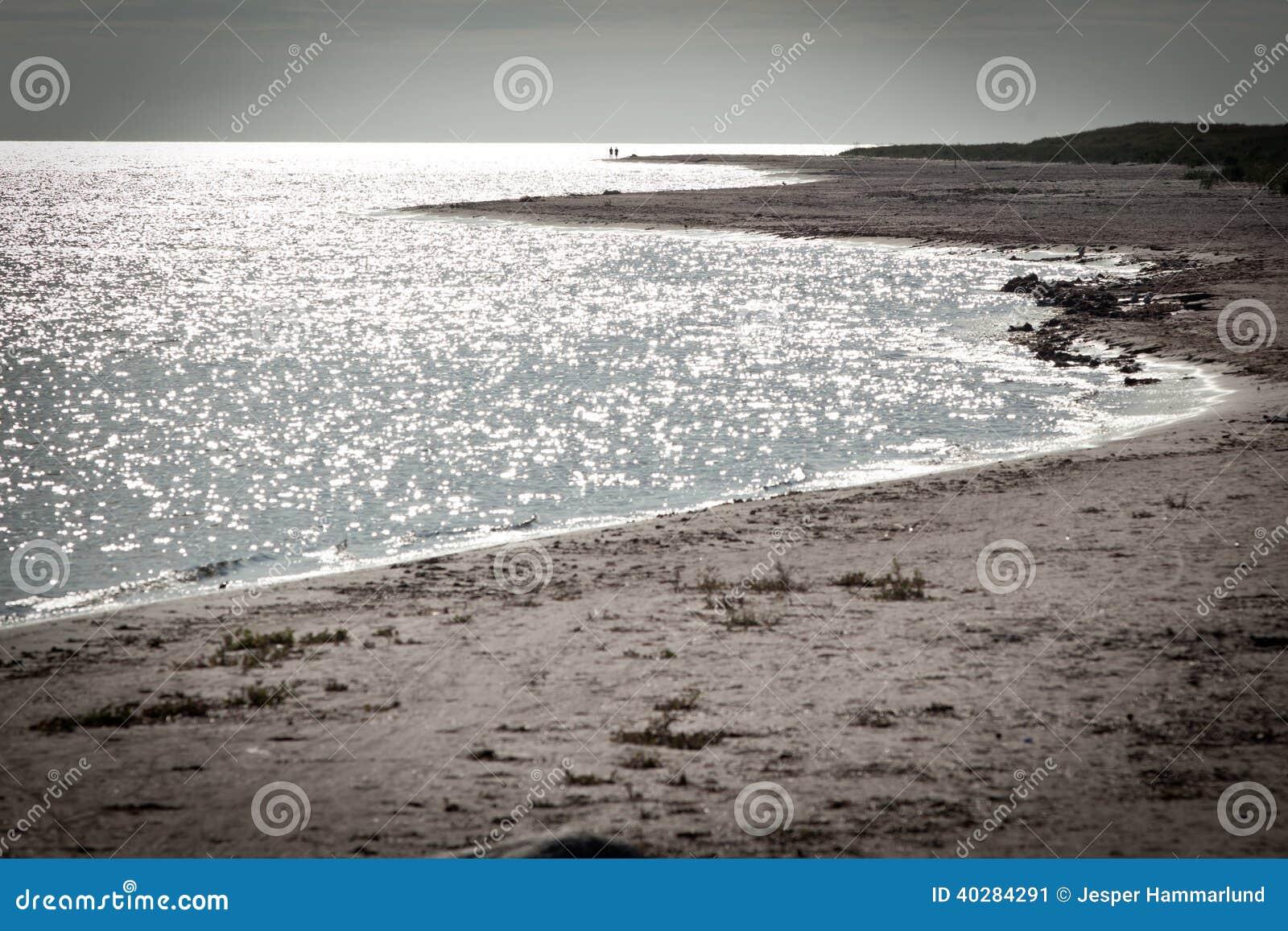 Langer Sandstrand auf der Insel von Faro in Schweden