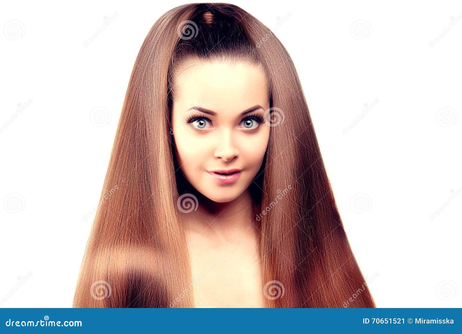 Langes Haar Updo Frisur Schönheits Frau Mit Dem Langen Gesunden Und