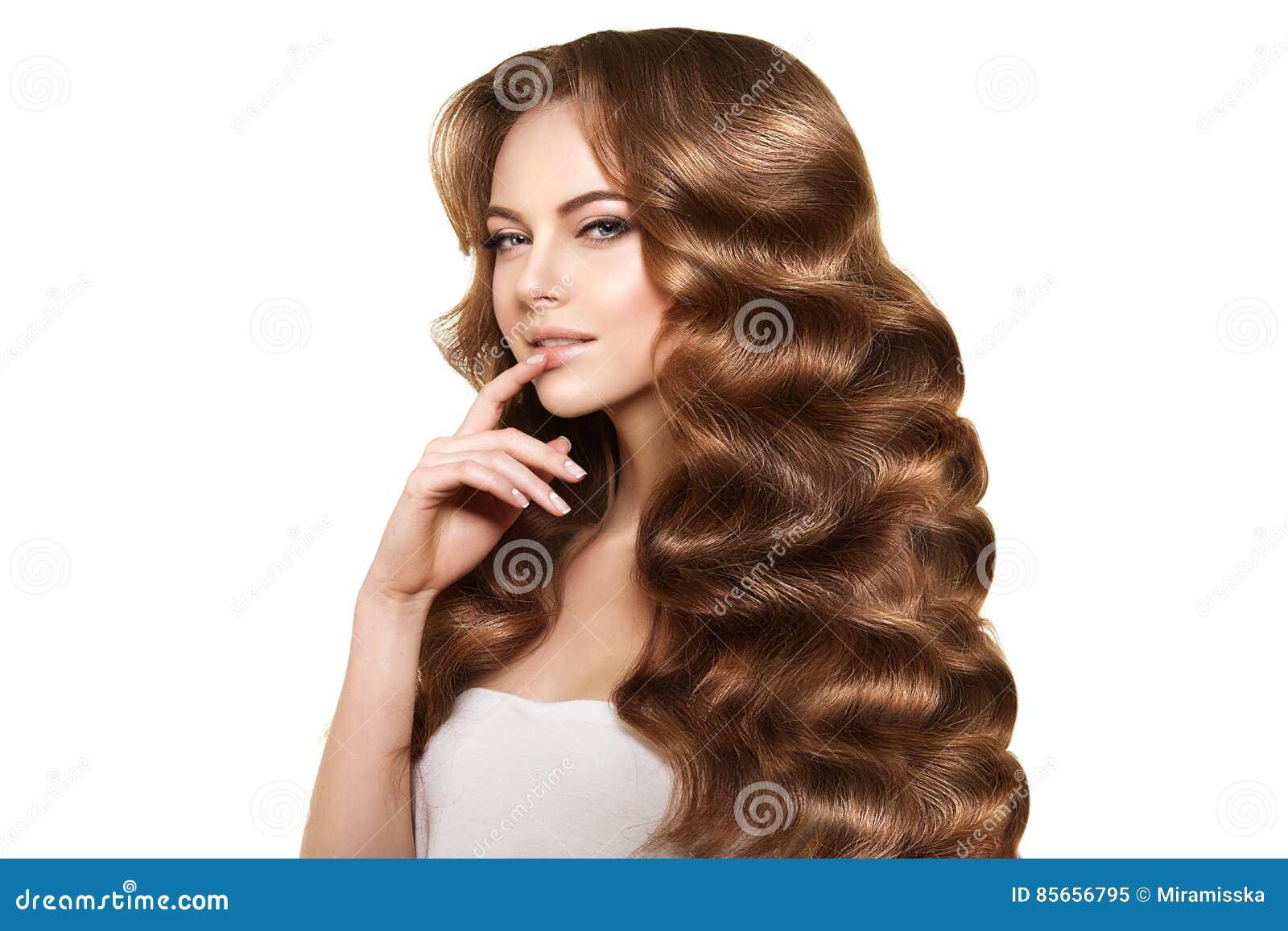 Langes Haar Wellen Locken Frisur Schonheits Frau Mit Dem Langen