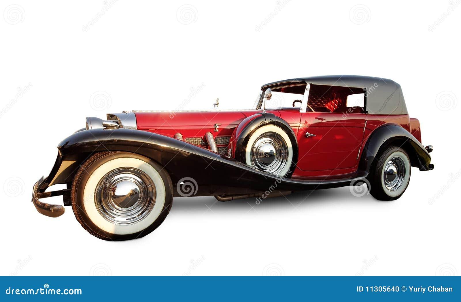 Langes rotes Auto der Weinlese