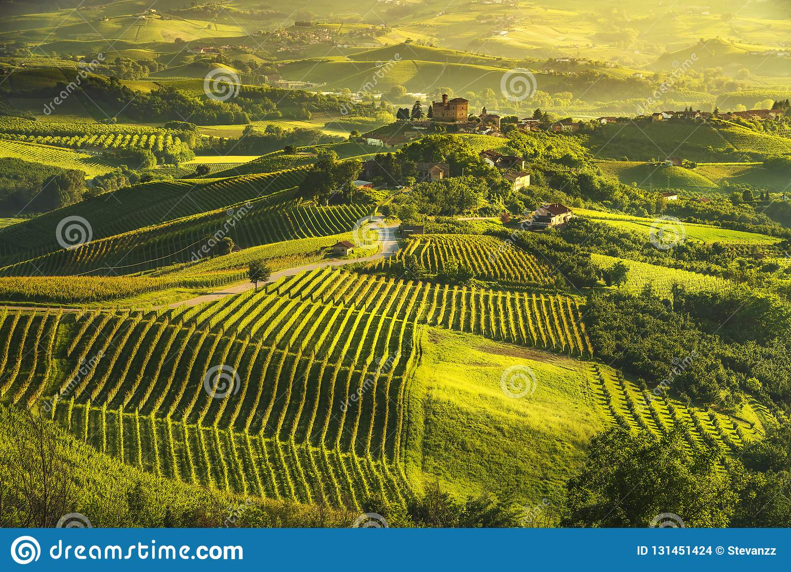 Langhe vineyards sunset panorama, Grinzane Cavour, Unesco Site, Piedmont, Northern Italy