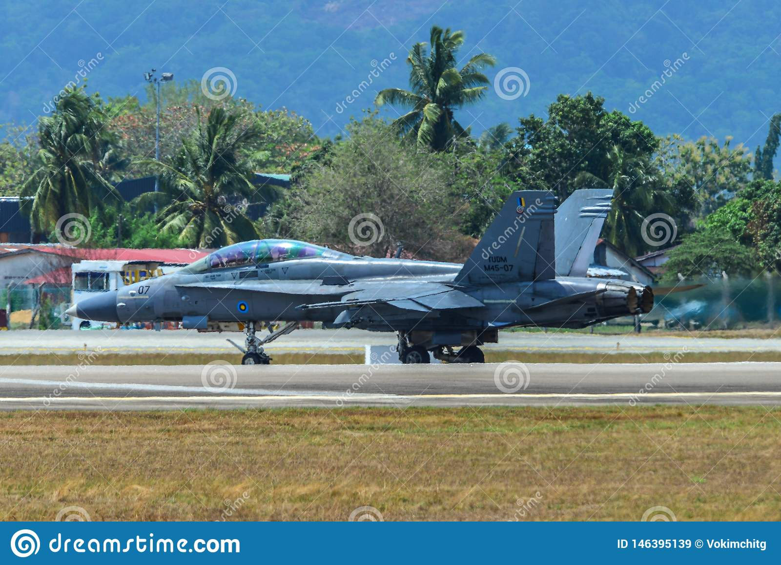 Boeing FA-18D Hornet Waiting On Runway Editorial Stock Image