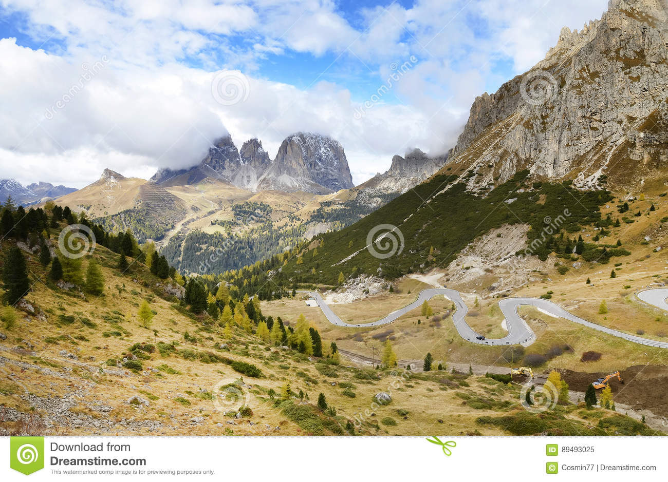 The Langkofel Group in italian: Gruppo del Sassolungo the massif mountain in the western Dolomites.