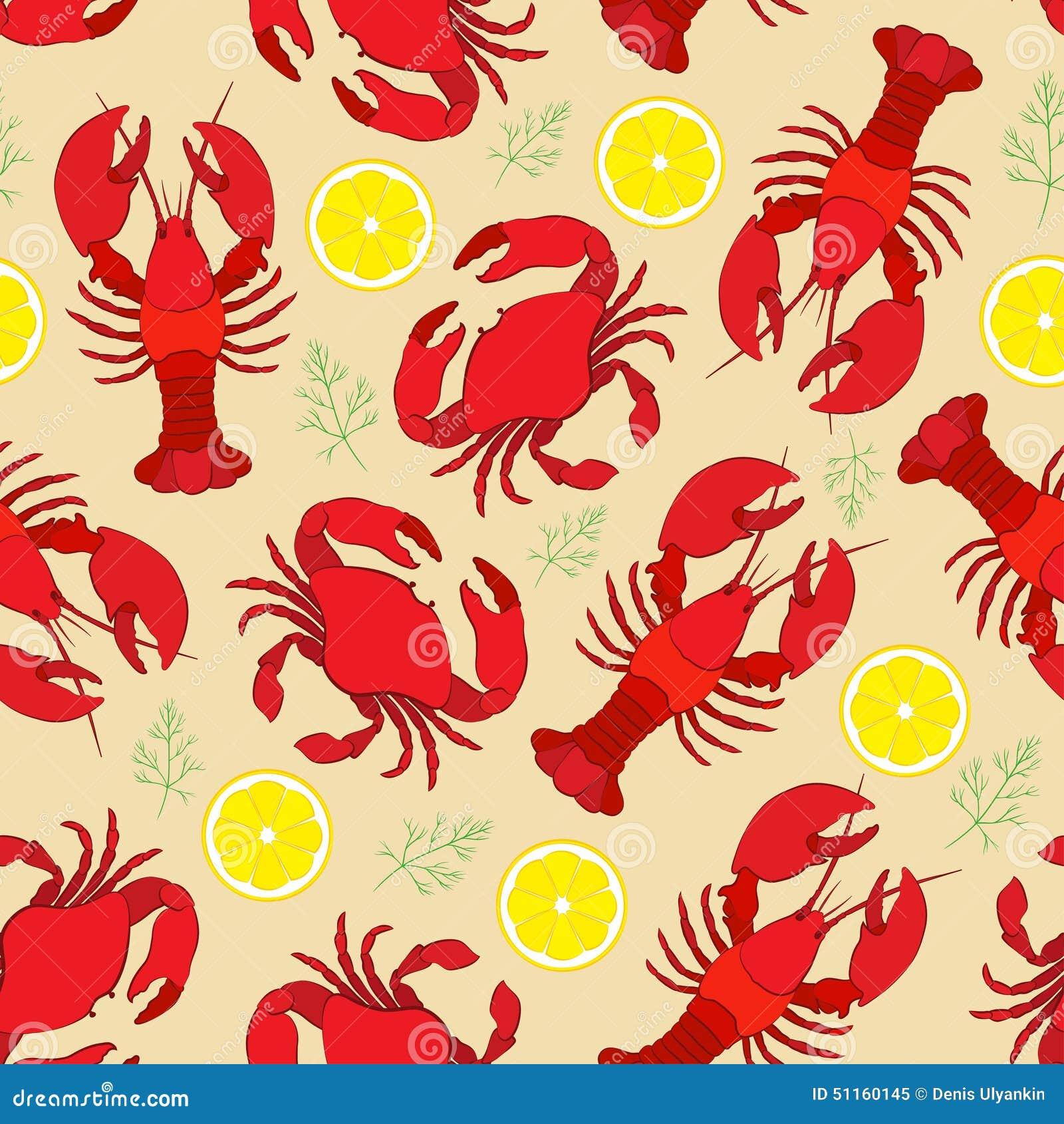 Langosta y cangrejo con el limón y el eneldo