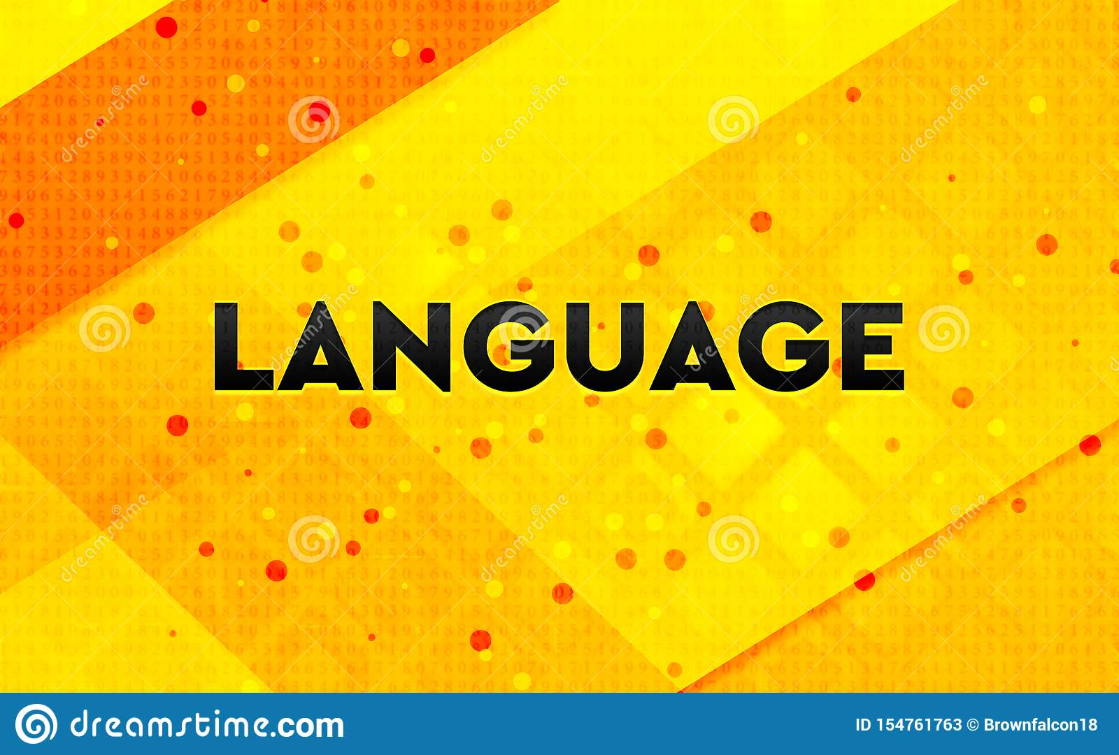 Language Abstract Digital Banner Yellow Background Stock