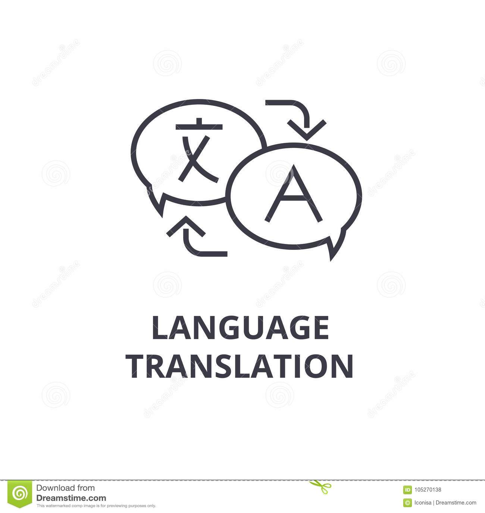 Language Translation Line Icon Outline Sign Linear Symbol Vector