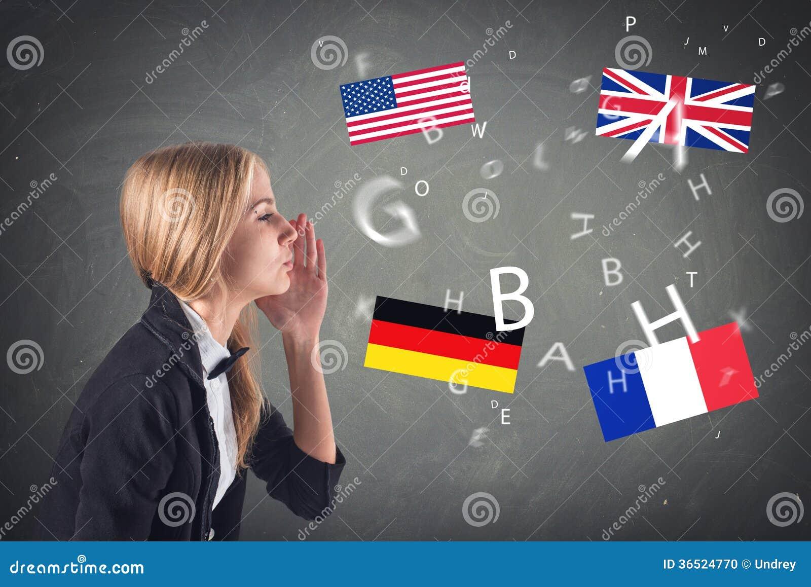 Langue étrangère. Concept - apprenant, parlant,
