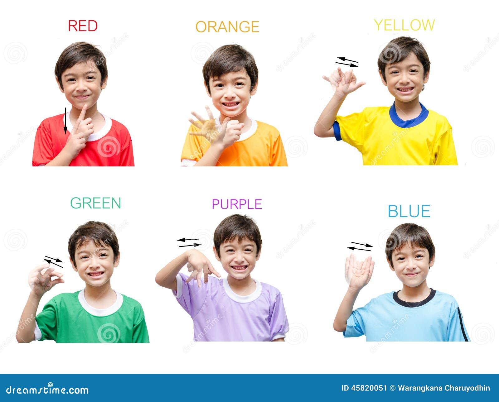 Célèbre Langue Des Signes De Main D'enfant De Couleur Image stock - Image  PA19