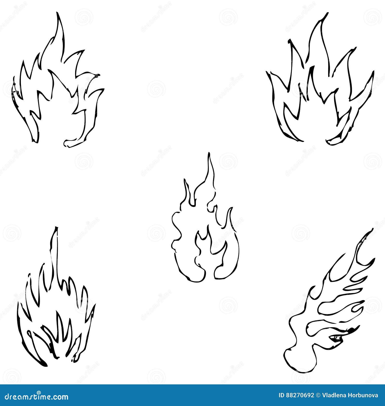 Langues De Flamme Croquis à La Main Dessin Au Crayon à La Main Image