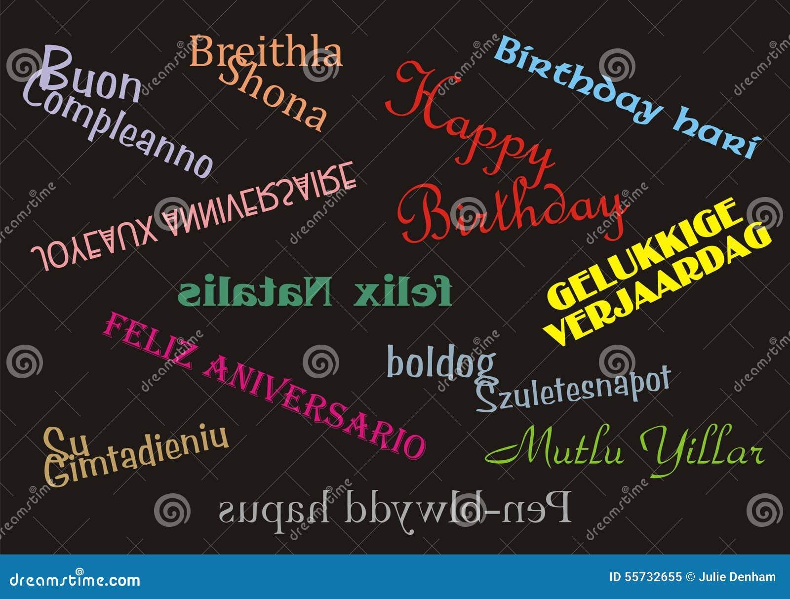 Langues De Multiple De Banniere De Joyeux Anniversaire Image Stock