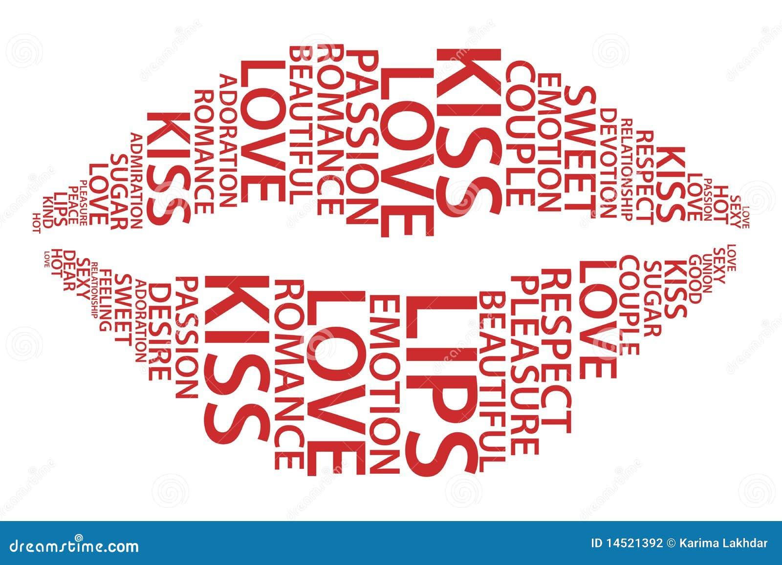 Languettes rouges avec des mots d amour