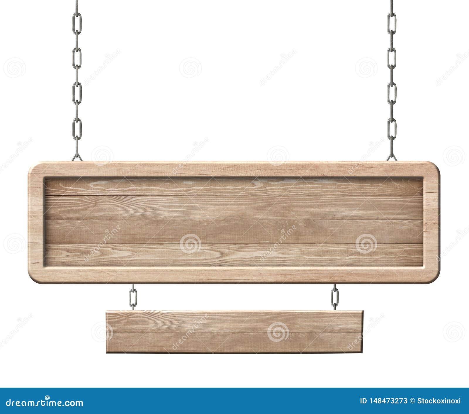 Langwerpig houten dubbel die teken van natuurlijk hout en met het heldere kader hangen op kettingen wordt gemaakt