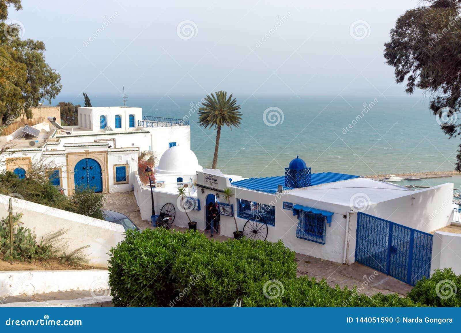 Lanscape di Sidi Bou Said con il mar Mediterraneo nei precedenti, Tunisia