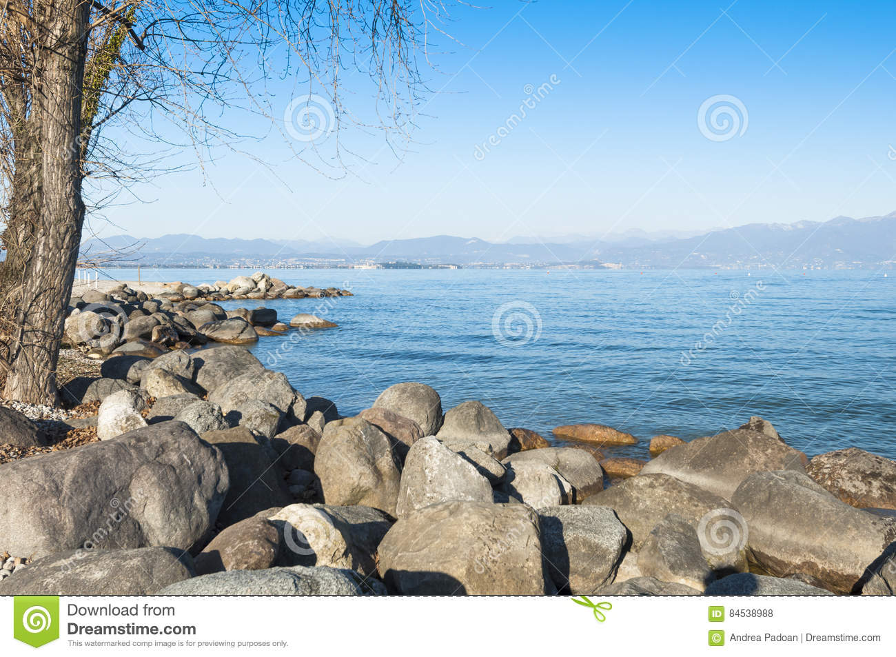 lanscape of the lake garda during winter from peschiera del gar