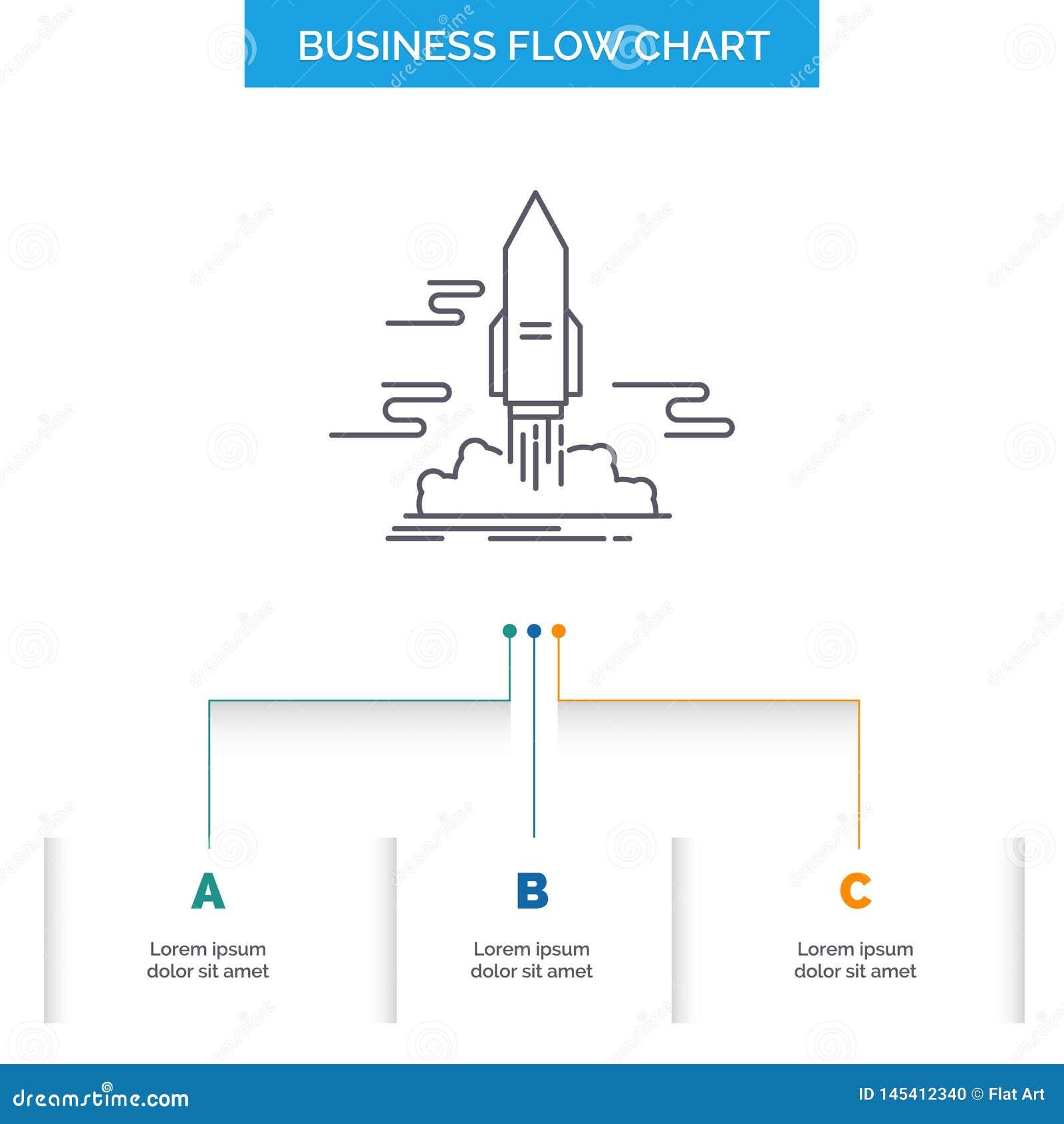 Lansera, publicera, appen, anslutningen, design för diagram för utrymmeaffärsflöde med 3 moment Linje symbol f?r st?lle f?r prese