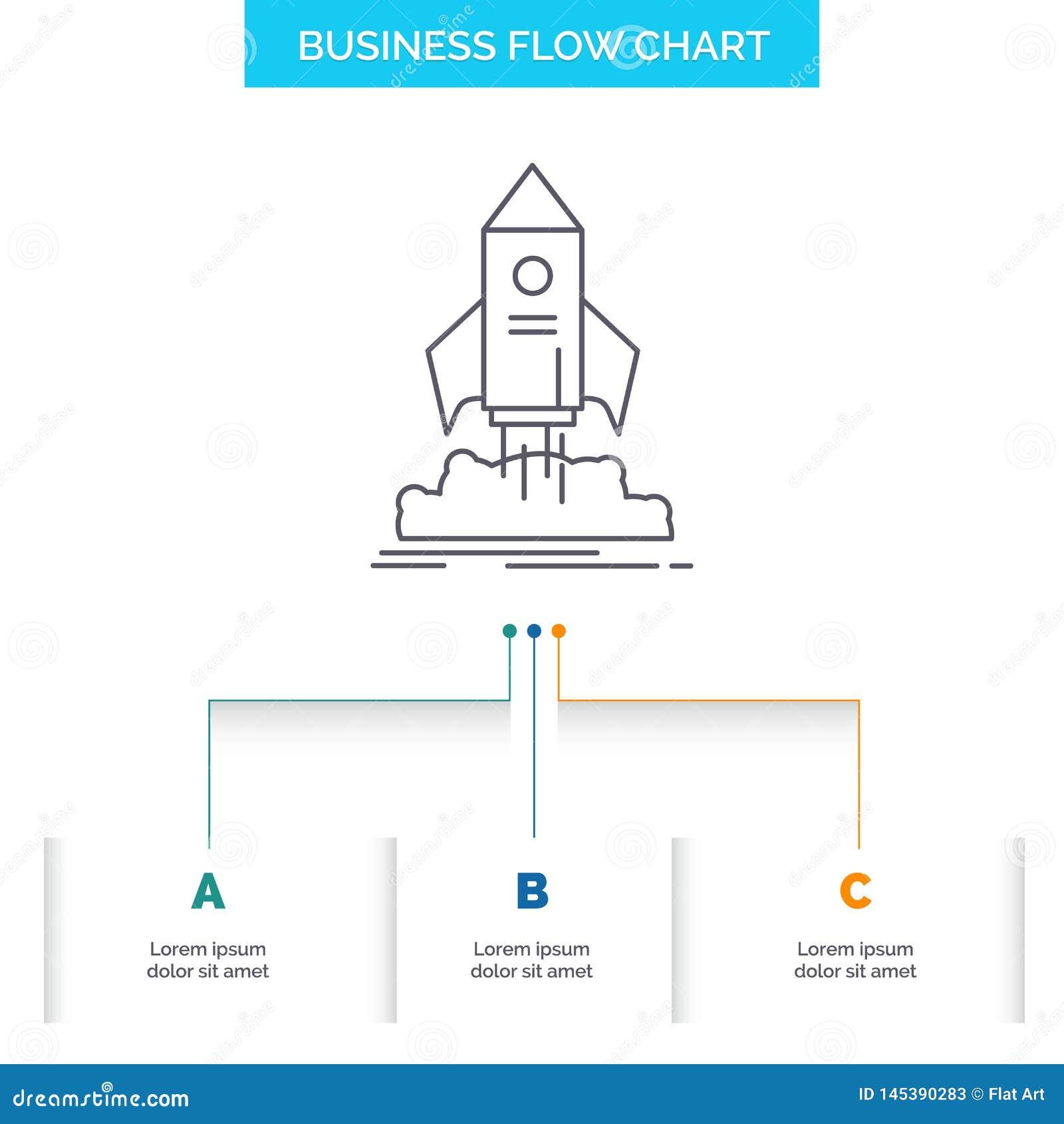 Lansering start, skepp, anslutning, design för diagram för beskickningaffärsflöde med 3 moment Linje symbol f?r presentationsbakg