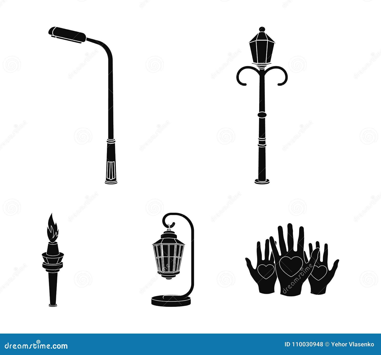 Lantaarnpaal in retro stijl, moderne lantaarn, toorts en andere types van straatlantaarns Pictogrammen van de lantaarnpaal de vas