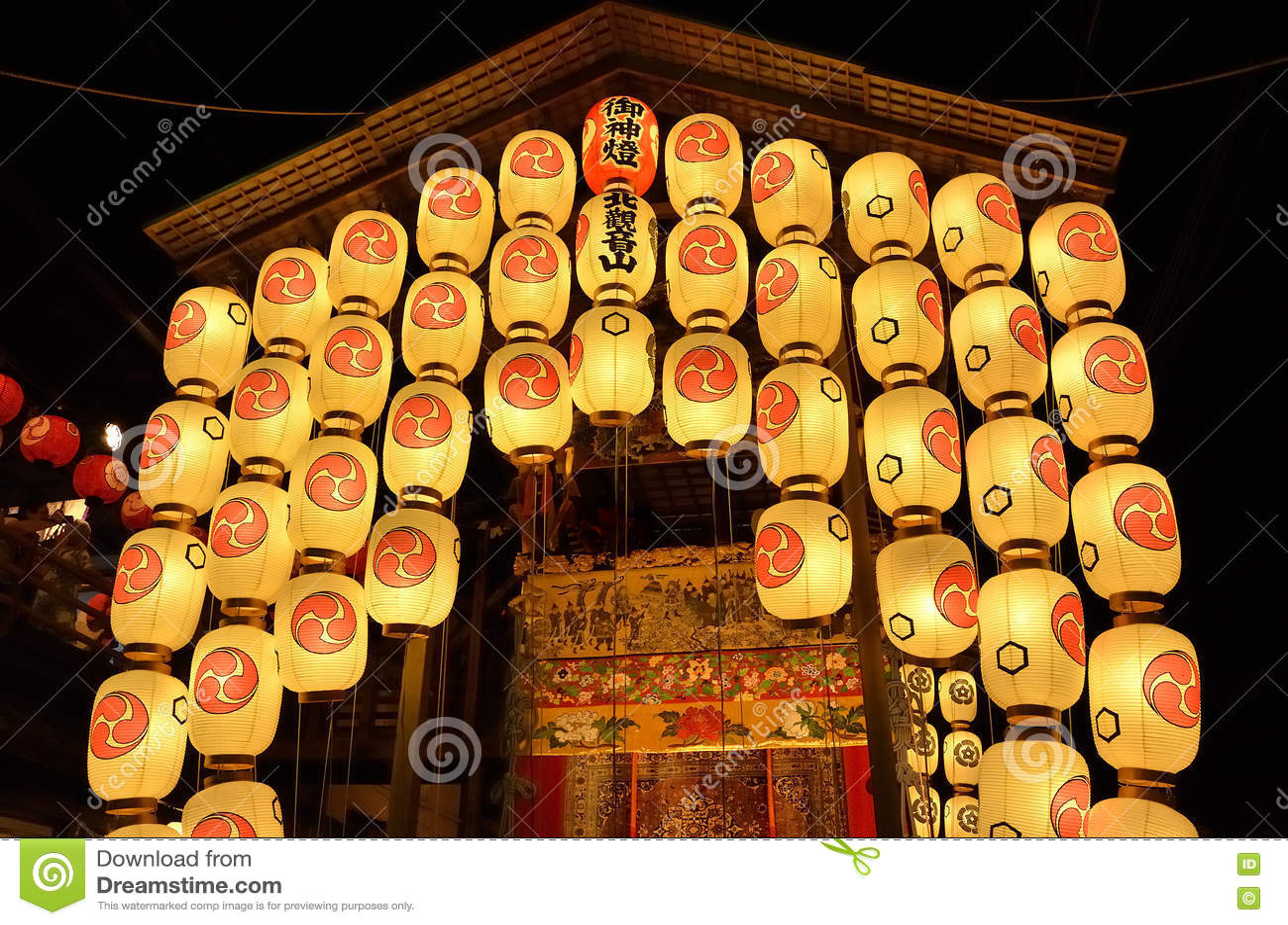 Lantaarns van Gion-festivalnacht, Kyoto Japan