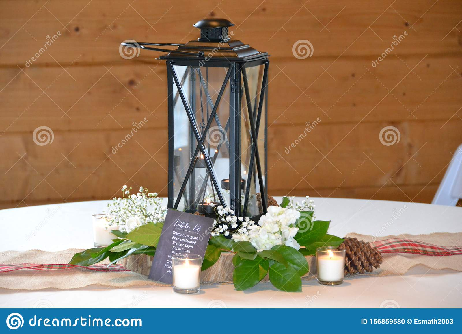 Lantern Centerpiece Stock Photo Image Of White Decoration 156859580