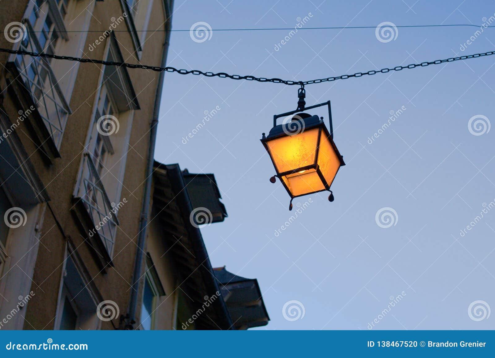 Lantern in european alley streetlight