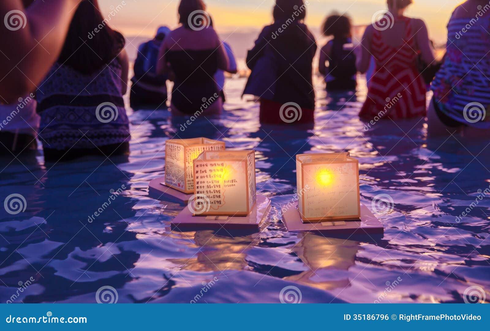 lantern floating festival editorial photo image of honolulu 35186796