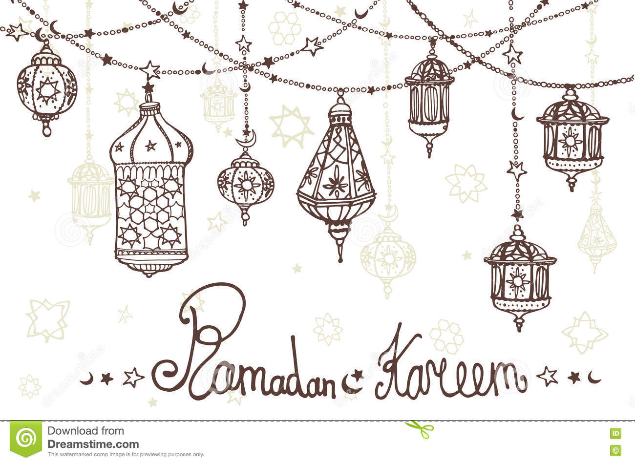 Lantern Garland Of Ramadan Kareem.Doodle Greeting Card Stock Vector ... for Ramadan Lamp Drawing  568zmd