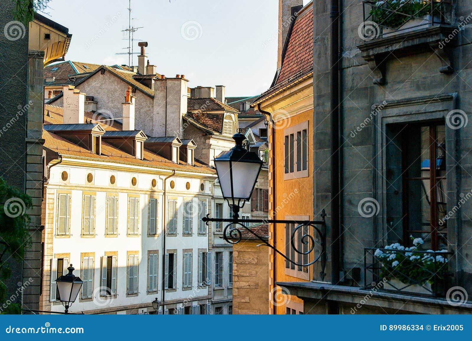 Lantern in street at Geneva old city center