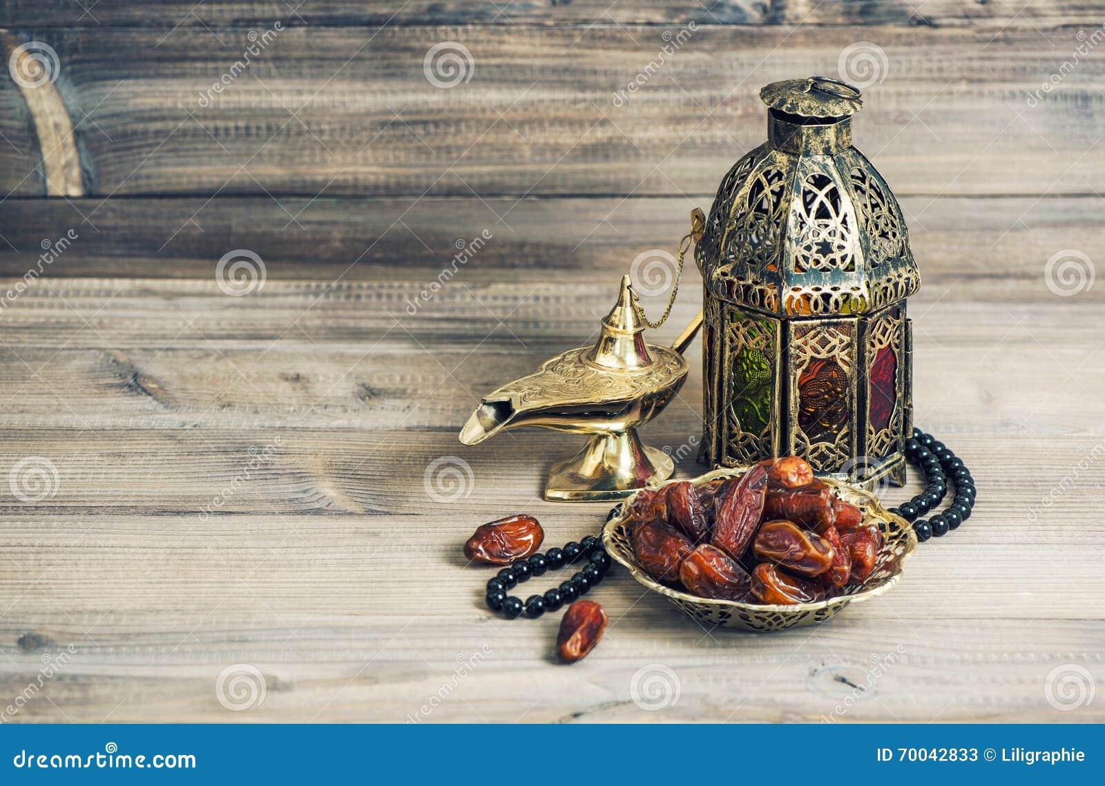 Lanterna árabe, frutos dourados da lâmpada Vintage de Eid Mubarak