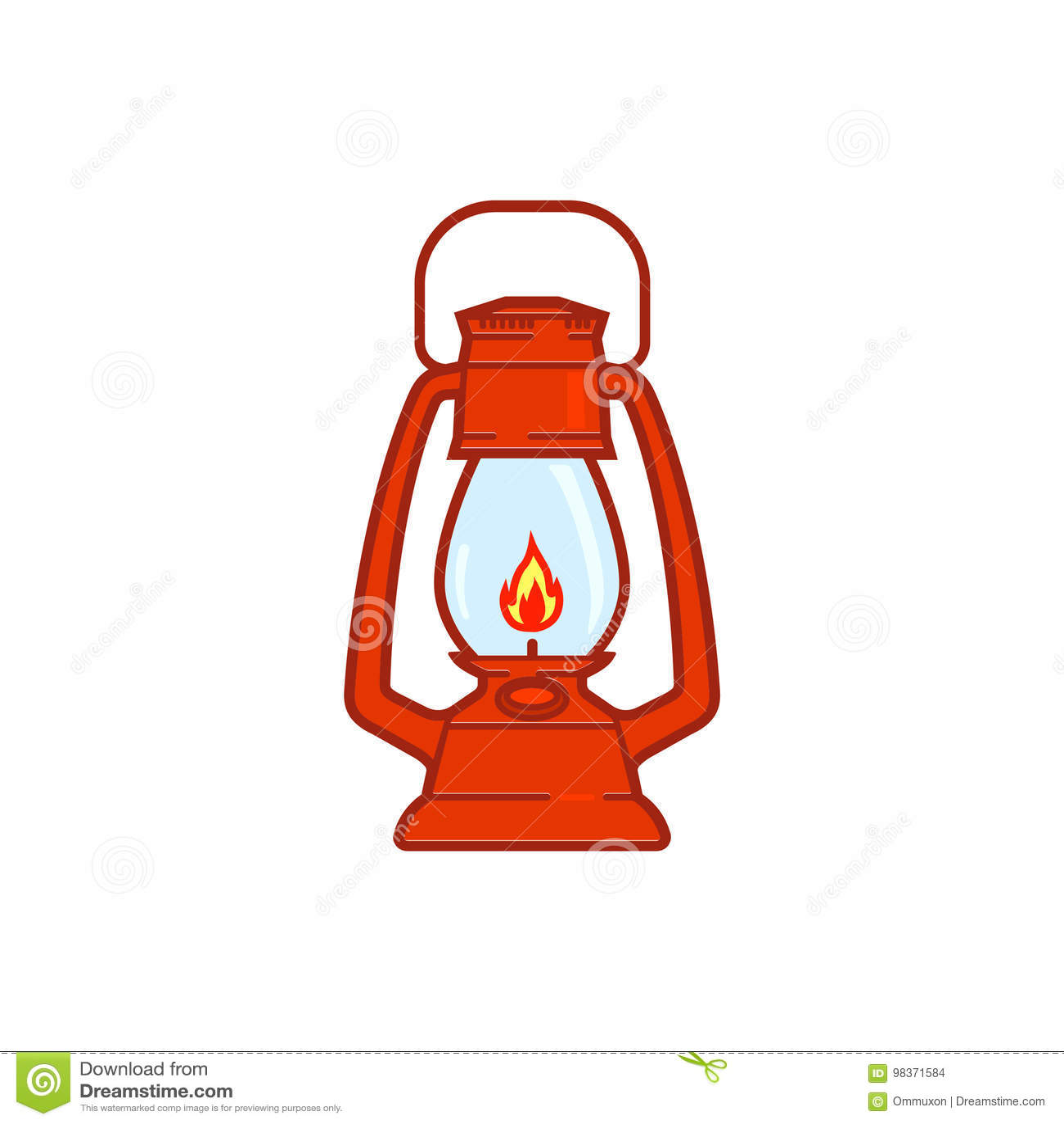 Lanterna di campeggio d annata isolata su fondo bianco Retro lampada di gas con lo stoppino d ardore del fuoco