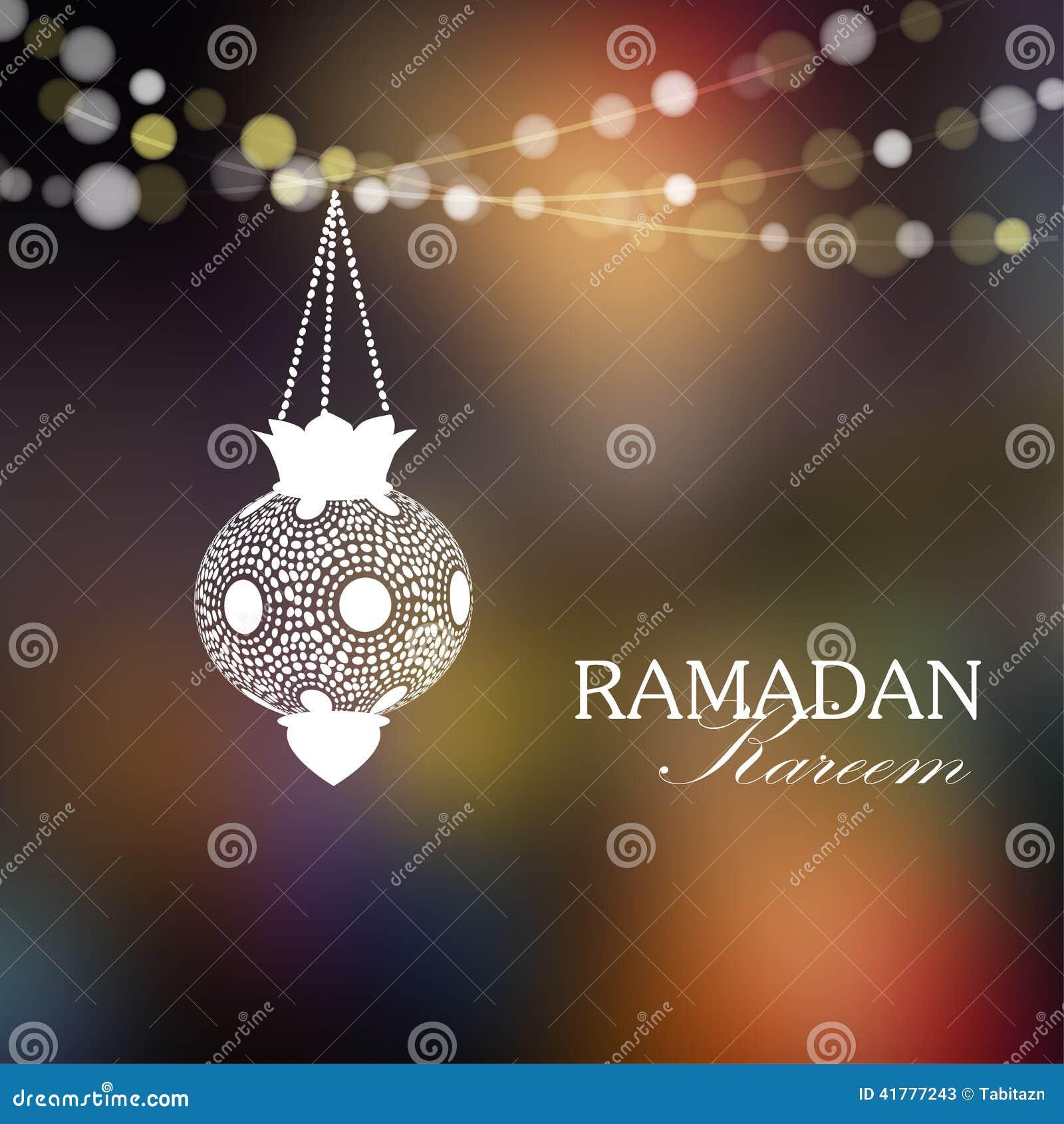 Lanterne arabe lumineuse, carte de Ramadan